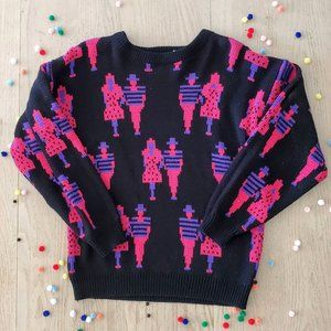Vintage 80's Crazy Bright Man and Woman Sweater